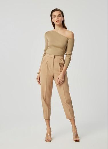 Monamoda Paçası Pensli Pileli Pantolon Camel